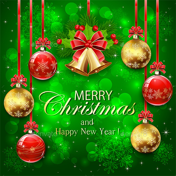 Green Background with Christmas Decorations - Christmas Seasons/Holidays