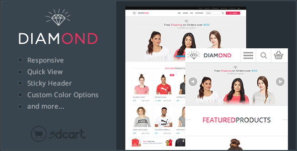 Download Diamond Responsive 3Dcart Theme nulled version