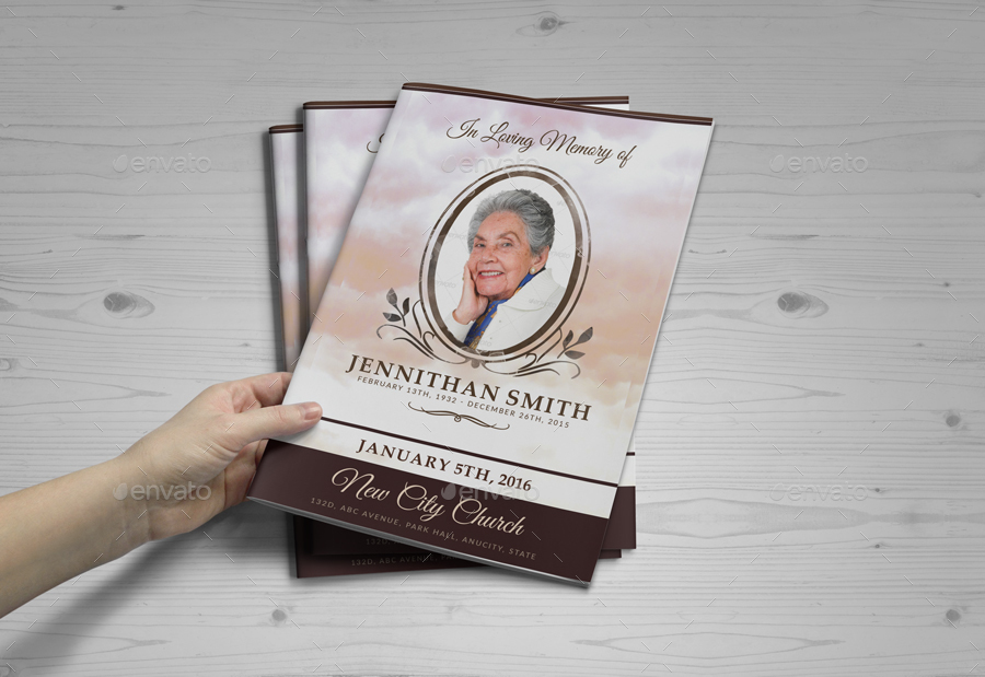 Loving Memory Funeral Program Brochure Template 01 by ...
