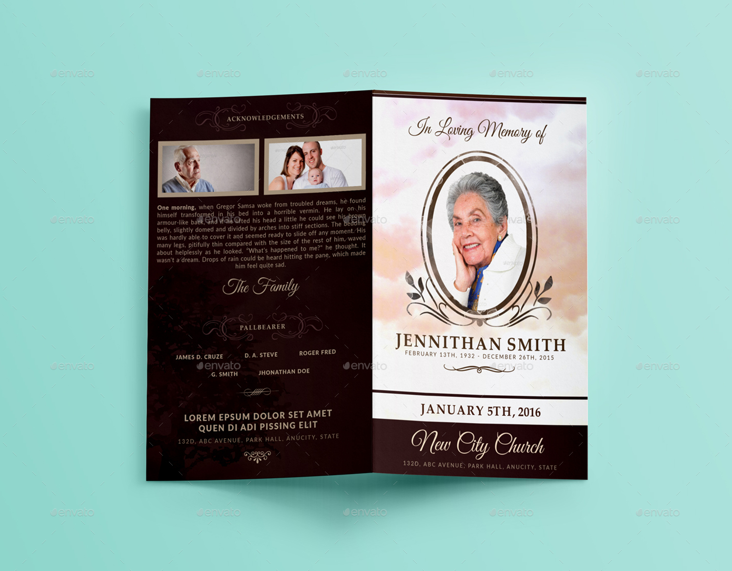 Loving Memory Funeral Program Brochure Template 01  Funeral Pamphlet Templates