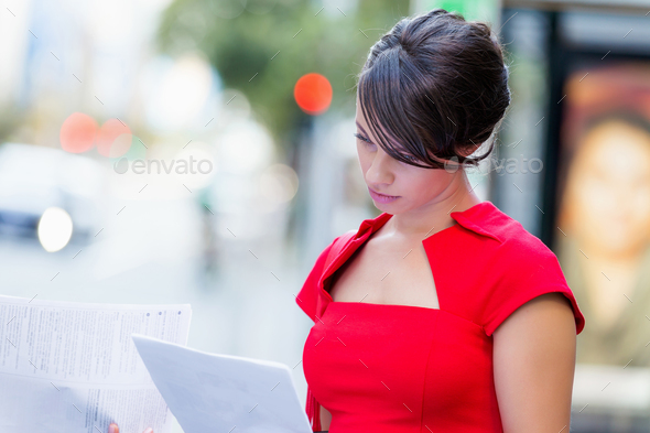 Portrait of businesswoman outside - Stock Photo - Images