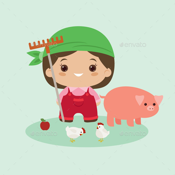 Kawaii Farmer Woman in the Harvest Season - Miscellaneous Characters