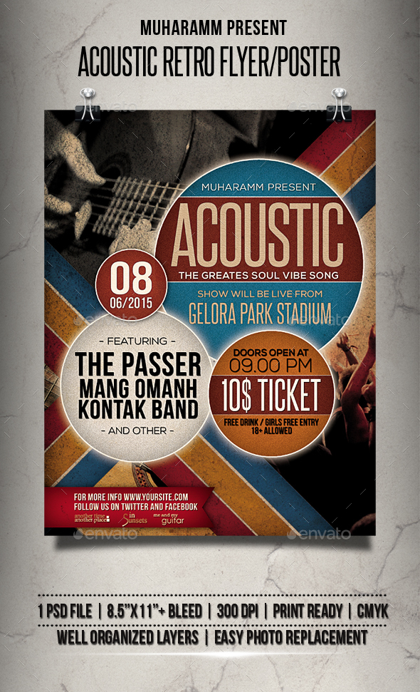 Acoustic Retro Flyer / Poster - Events Flyers
