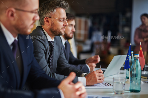 Attending business lecture - Stock Photo - Images