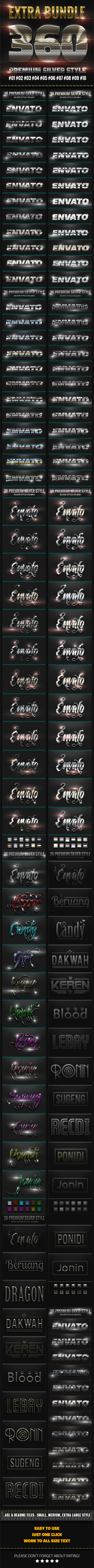 360 Metallic Silver Style Extra Bundle - Text Effects Styles