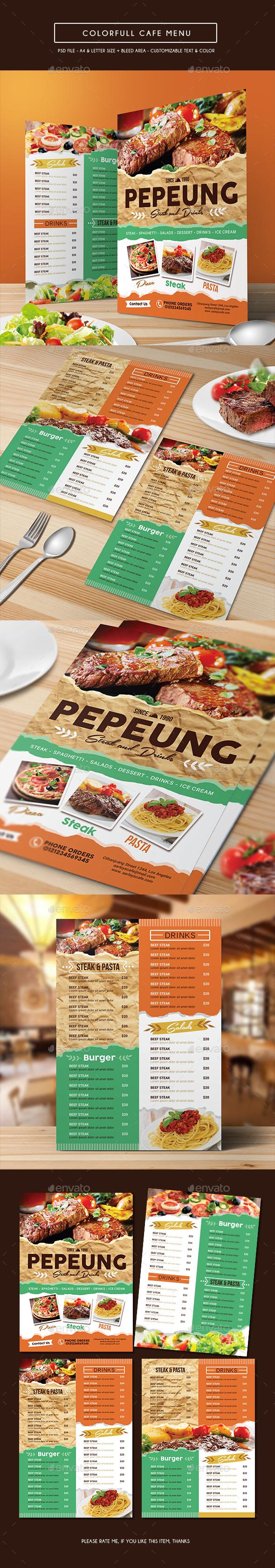 Colorfull Cafe Menu - Food Menus Print Templates