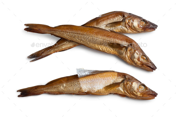 Fresh smoked whiting fish - Stock Photo - Images