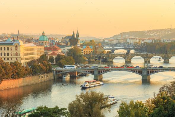 Prague cityscape, Manes bridge and Charles Bridge in Prague, Cze - Stock Photo - Images