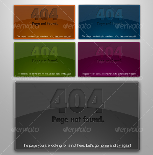Web 2.0 Glossy & Letterpressed 404 Error Boxes - Web Elements
