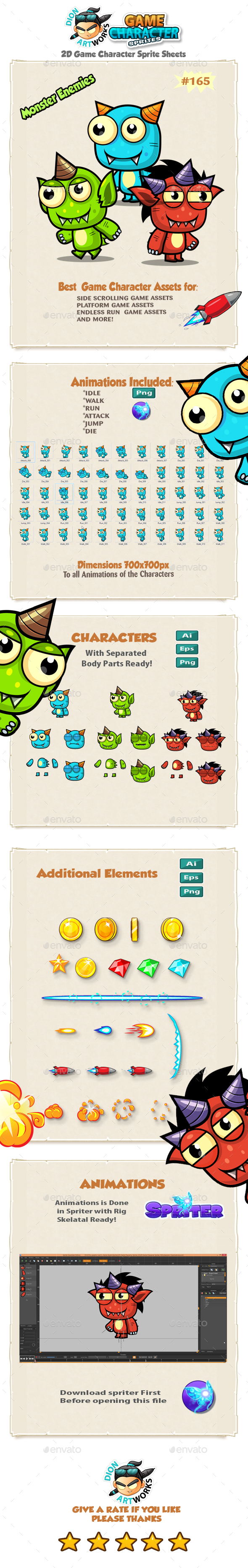 Monster Enemies 2D Game Character Sprites 165 - Sprites Game Assets