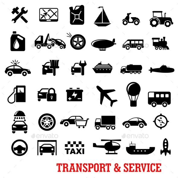 Transportation And Car Service Flat Icons - Objects Icons