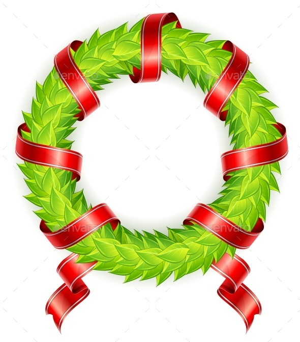 Round Wreath with Ribbon - Miscellaneous Vectors