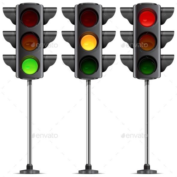 Three Traffic Lights  - Miscellaneous Vectors