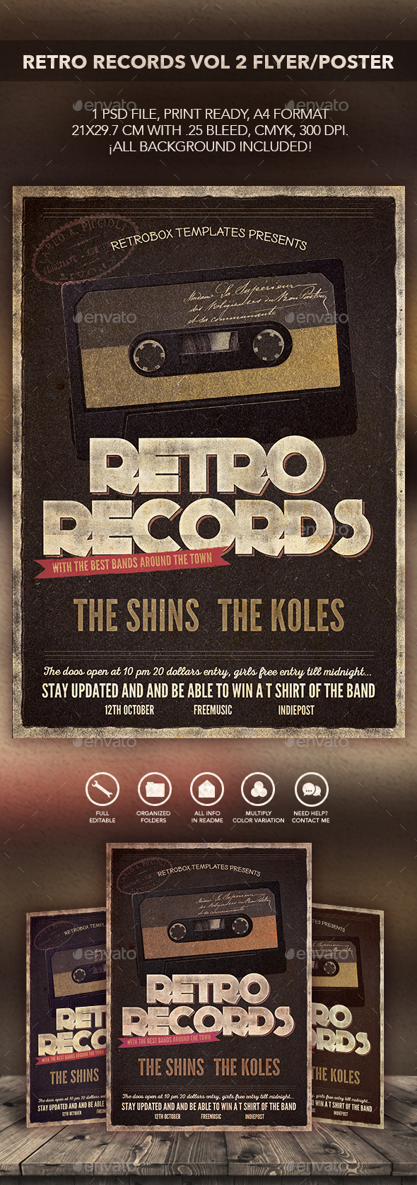 Retro Records Vol2 Flyer Poster