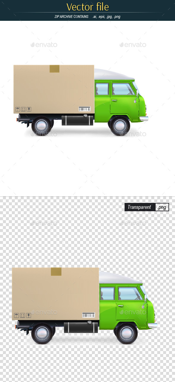 Green Truck with Cardboard Box - Man-made Objects Objects
