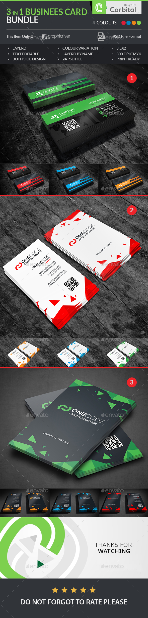 Business Card Bundle 3 IN  - Business Cards Print Templates