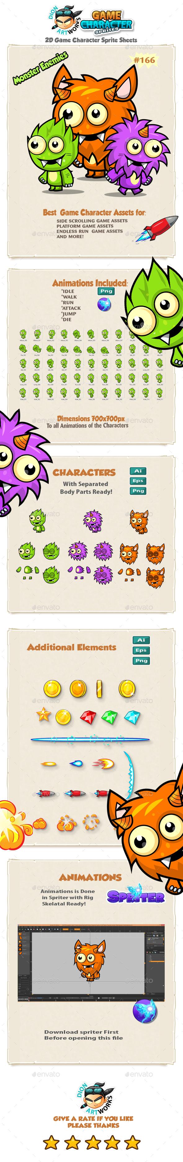 Monster Enemies 2D Game Character Sprites 166 - Sprites Game Assets