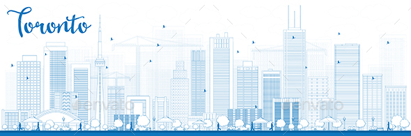 Outline Toronto Skyline with Blue Buildings. - Buildings Objects