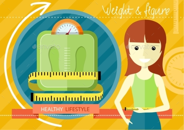 Woman Measuring Her Slim Body - Sports/Activity Conceptual