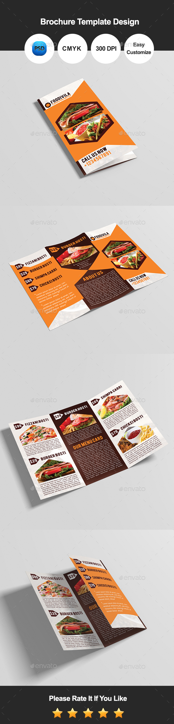 Foodivila Tri Fold Food & Restaurant Brochure Template Design - Catalogs Brochures