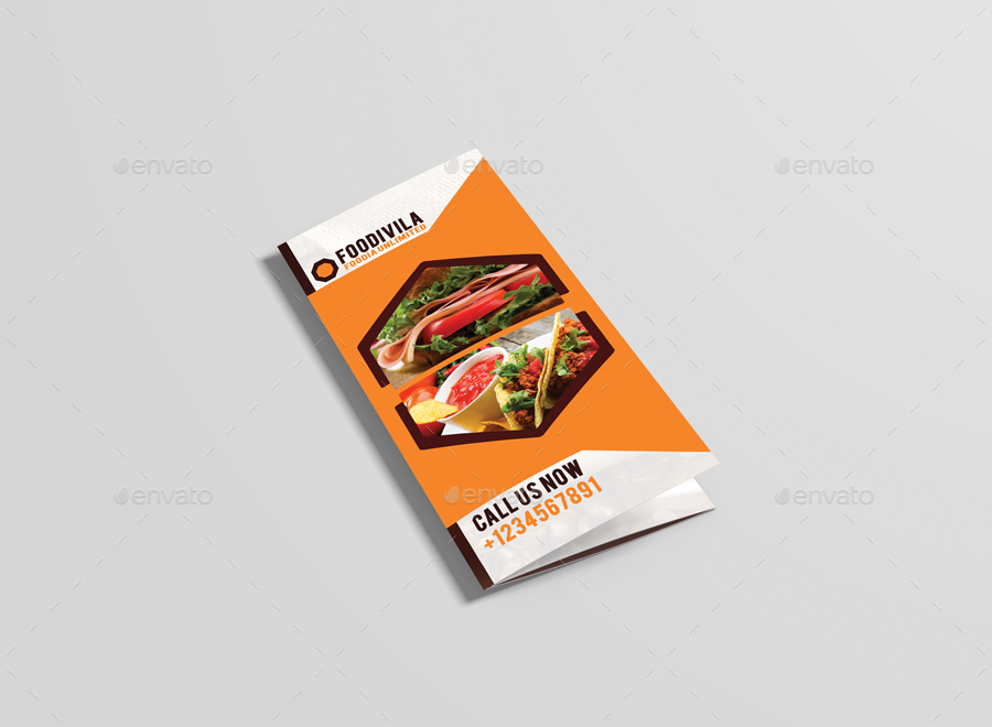 Foodivila Tri Fold Food & Restaurant Brochure Template Design By