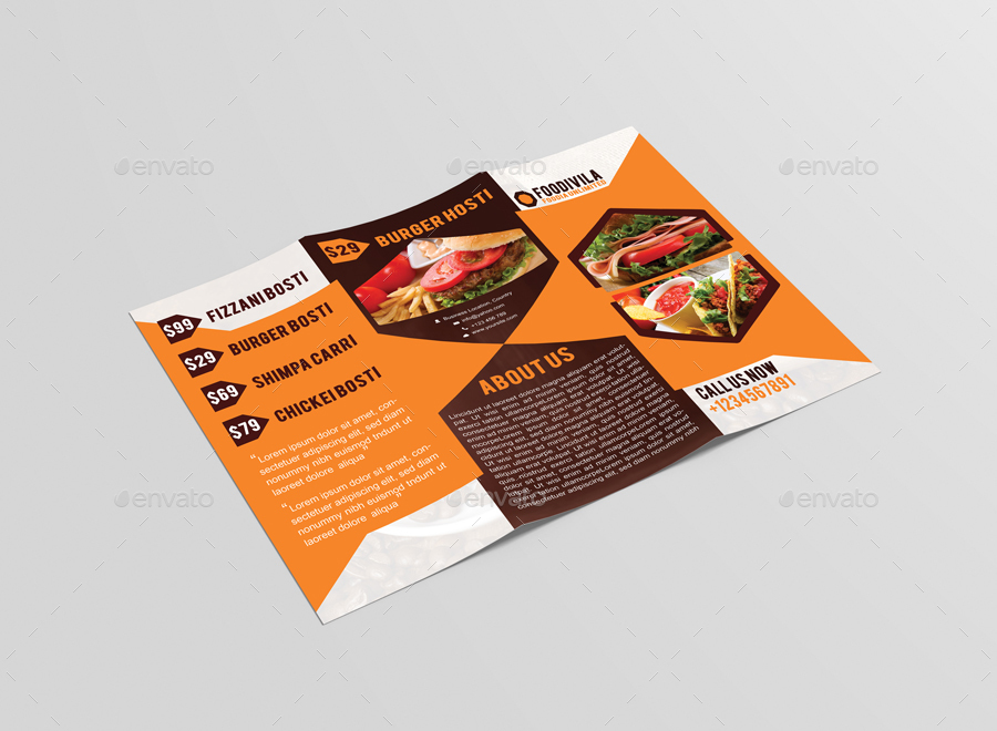 Foodivila Tri Fold Food Restaurant Brochure Template Design By