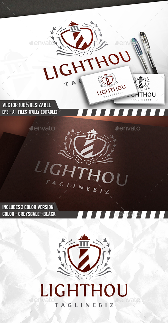 Lighthouse Vintage Logo - Buildings Logo Templates