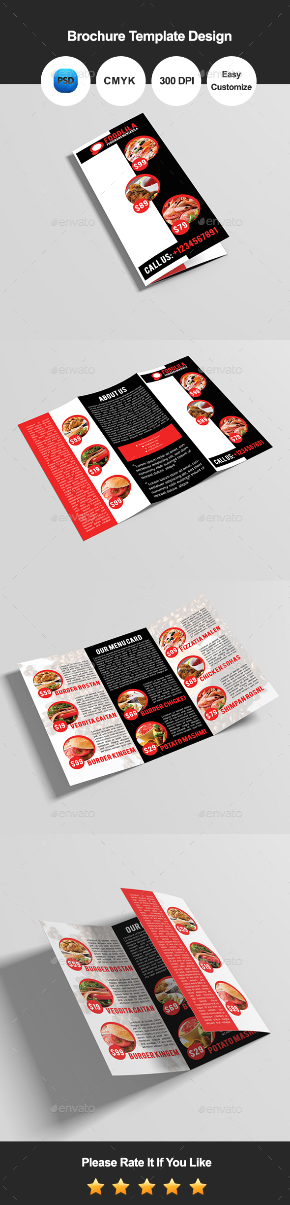 Foodlila Tri Fold Food & Restaurant Brochure Template Design - Catalogs Brochures
