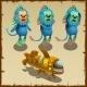 Three Underwater Blue Monkeys And Yellow Submarine