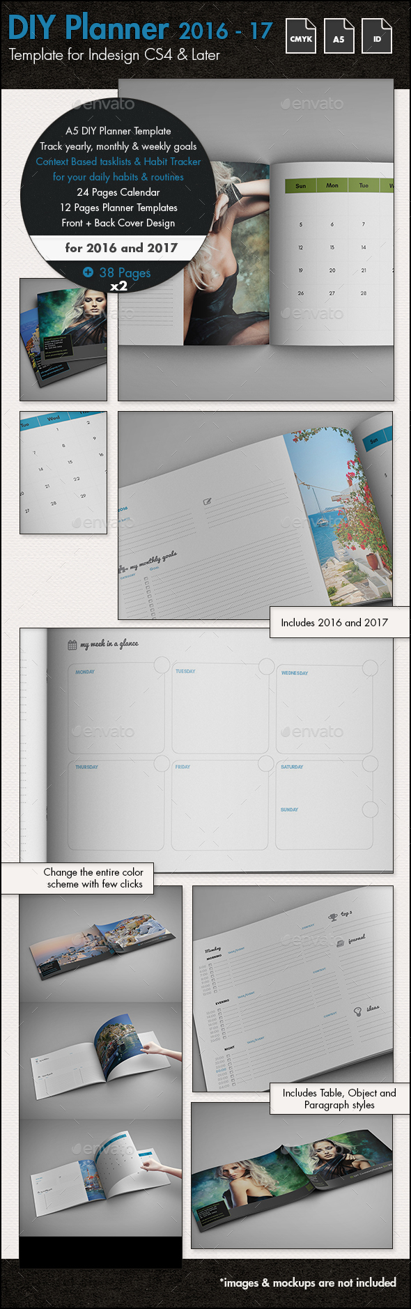 DIY Planner - Calendar for 2016 and 2017 Template - A5 - Calendars Stationery