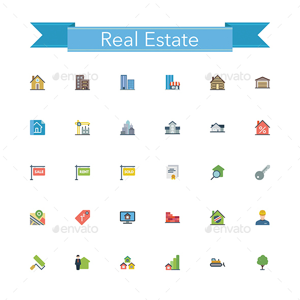 Real Estate Flat Icons - Buildings Objects