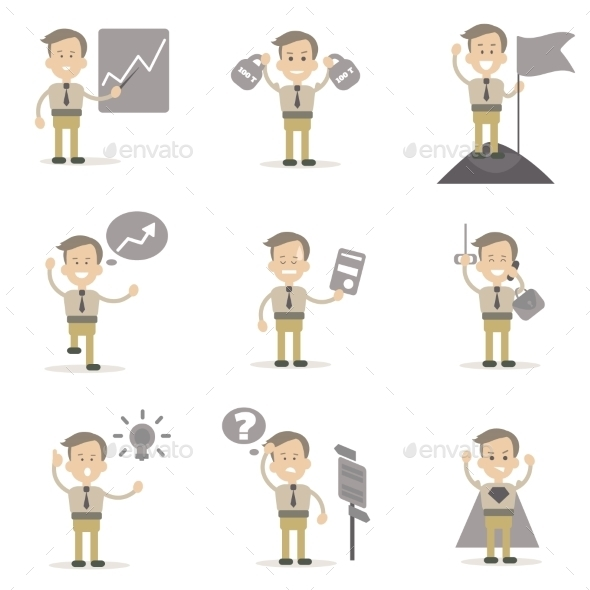 Set Of Businessman Characters  - People Characters