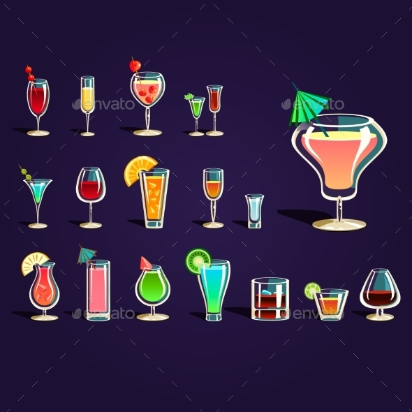 Popular Alcoholic Cocktails - Decorative Symbols Decorative