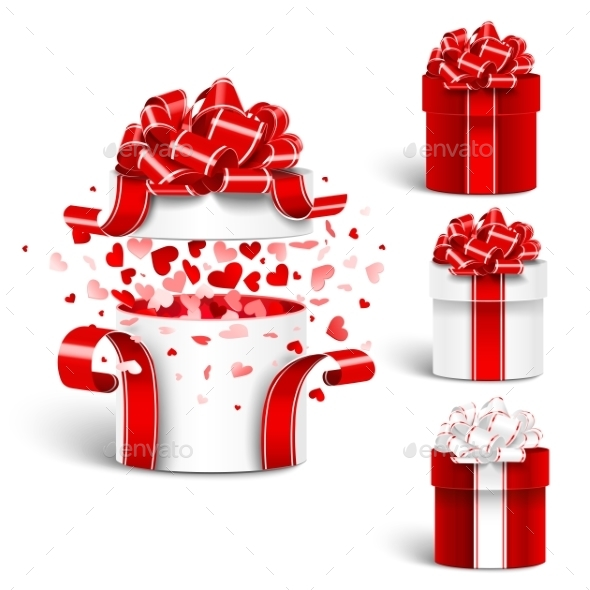Gift Box Set Vector  - Valentines Seasons/Holidays