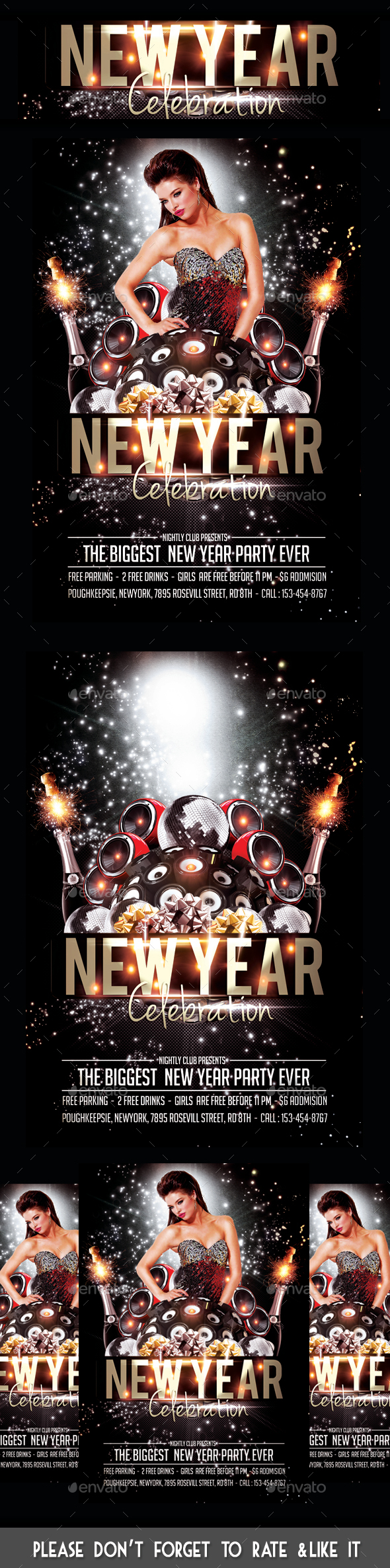 New Year Celebration Party Flyer - Flyers Print Templates