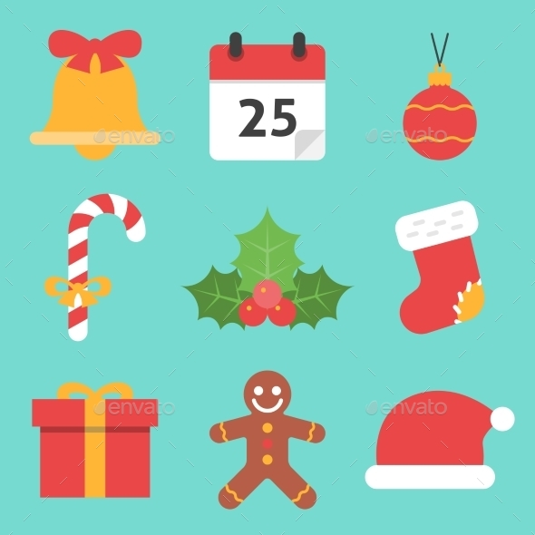 Christmas Icons Flat - Seasonal Icons