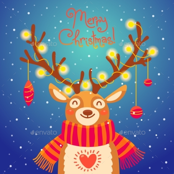 Christmas Card Cute Cartoon Deer With Garlands  - Christmas Seasons/Holidays
