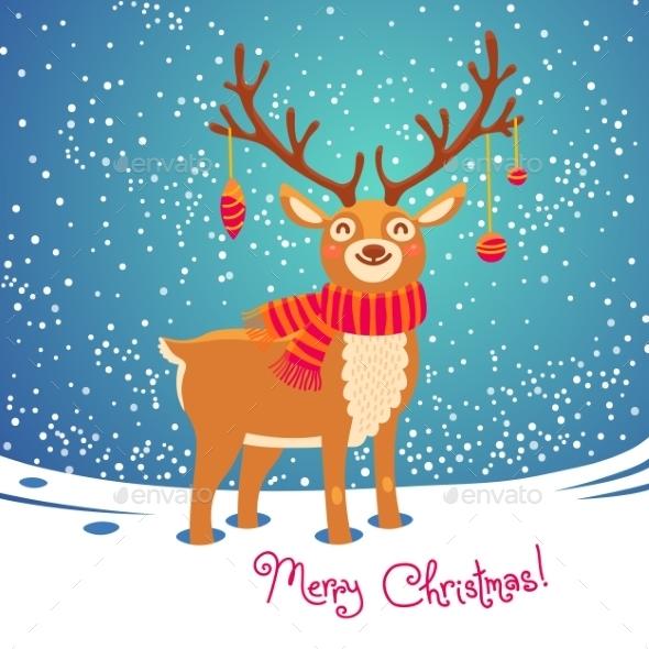 Christmas Card With Reindeer - Christmas Seasons/Holidays