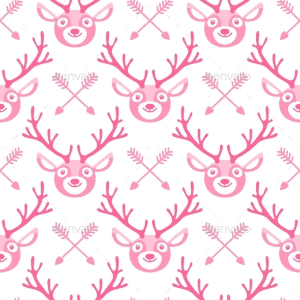 Hipster Seamless Pattern With Deer And Arrows.  - Animals Characters
