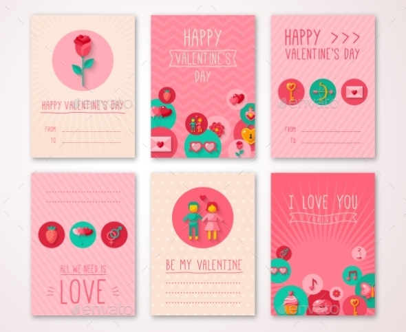 Set Of Valentines Day Brochures Template - Valentines Seasons/Holidays