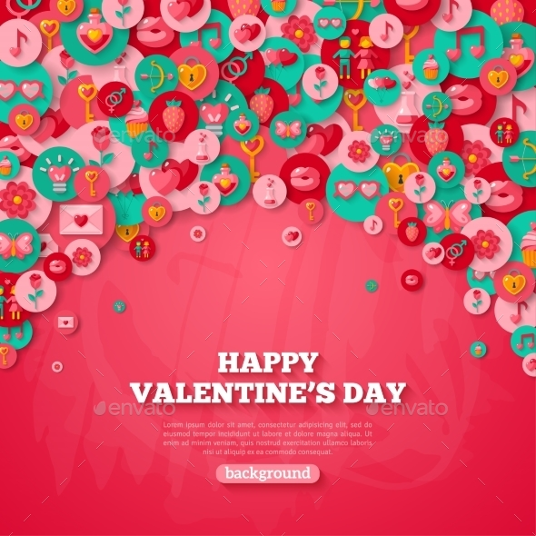 Valentine's Day Background With Circle Flat Icons. - Valentines Seasons/Holidays