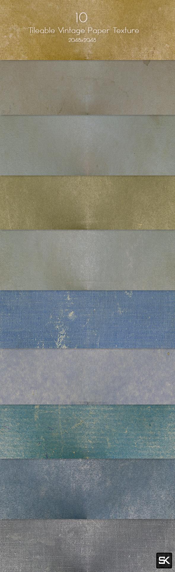 10 Tileable Vintage Paper Textures.2 - Miscellaneous Textures / Fills / Patterns