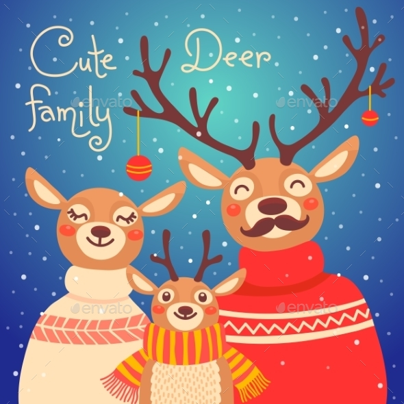 Christmas Reindeer Family. - Animals Characters
