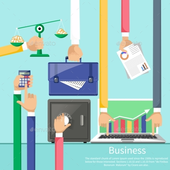 Hands With Various Business Elements - Concepts Business