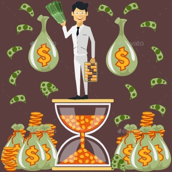 Businessman Standing On The Hourglass - Concepts Business