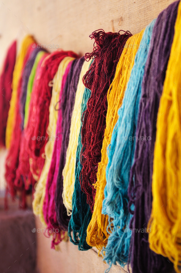Colored yarn. Arequipa, Peru - Stock Photo - Images