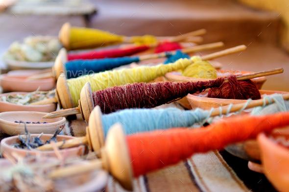 Colored yarn. Arequipa, Peru - Stock Photo - Images