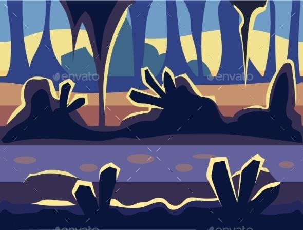 Seamless Cartoon Nature Landscape, Unending - Landscapes Nature