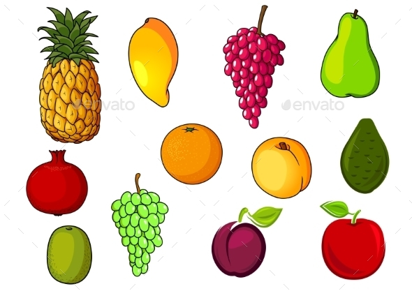 Fresh Tropical And Garden Fruits - Food Objects