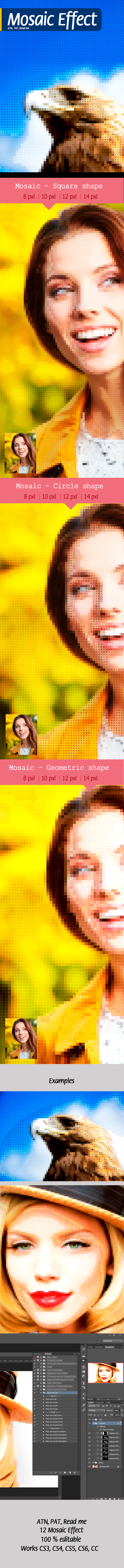 Mosaic Effect Photoshop Action - Actions Photoshop